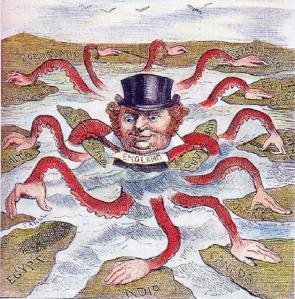 An American cartoonist in 1888 depicted John Bull (England) as the octopus of imperialism, grabbing land on every continent. HWC925