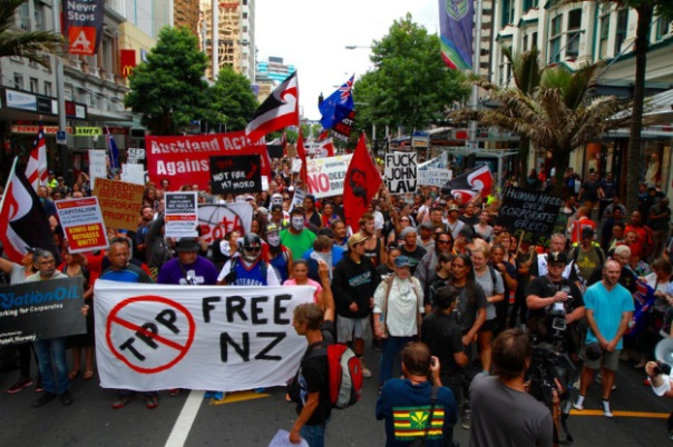 Thousands of protesters march in Auckland, New Zealand as the Trans Pacific Partnership Agreement was signed on Thursday, February 4. (Photo credit: Robin Dianoux)