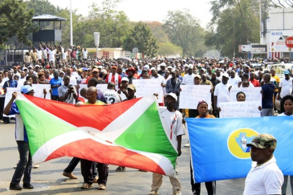 Around 1,000 people march in Bujumbura on July 30, 2016, in protest against a United Nations Security Council decision to send a police contingent to the violence-wracked country. (STR/AFP/Getty Images)