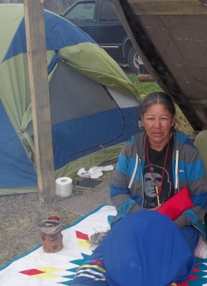 Alma Kakikepinace is camping outdoors on Sagkeeng First Nation on a hunger strike. She hopes band officials come through and provide her with adequate housing. (Supplied by Diane Maytwayashing)